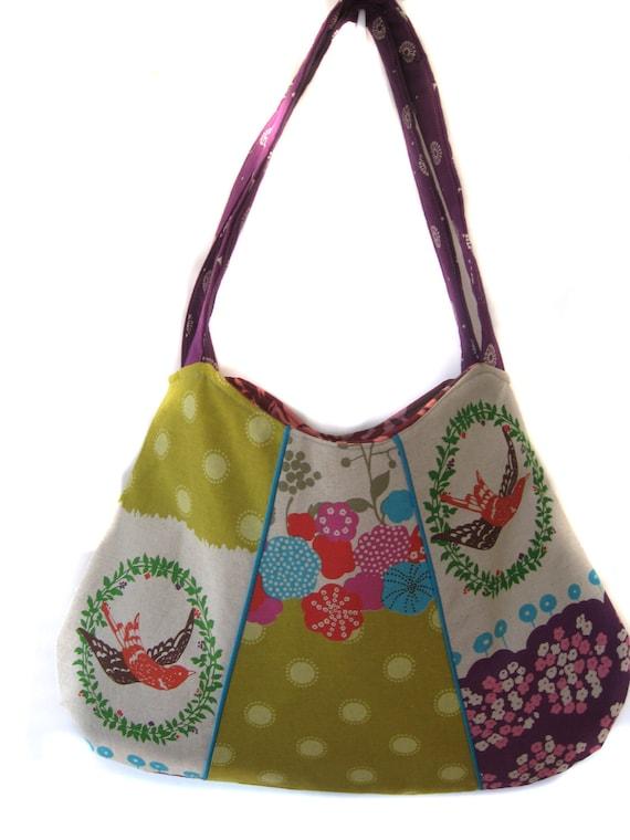 Custom order for Shae Shoulder Handbag/Tote/Purse - New Design-   Echino by Etsuko Furuya Birds Lime Turquoise Mustard