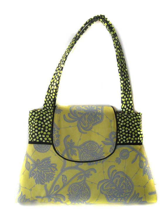 SUPER SALE Ready to SHIP  Handbag Shoulder Purse for handmade with amy butler lark souvenir lemon and sparkle pitch