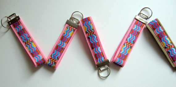 one ribbon keyfob keychain Chevron Print--Anna Maria Horner Ribbon