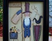 Americana Uncle Sam Canvas-Primitive Handpainted Home Decor