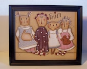 Primitive Dolls Framed Canvas-Handpainted Home Decor