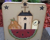 Saltbox Watermelon Summer Sheep Pear Wood Plaque Handpainted Home Decor