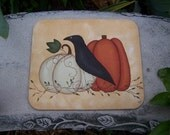 Primitive Fall Crow Pumpkin Mouse Pad Office Home Decor