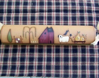 Primitive Saltbox House Rolling Pin-Handpainted