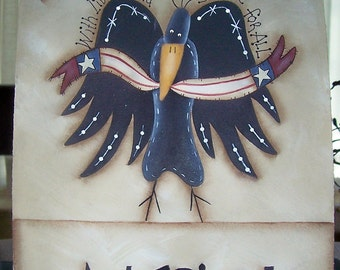 Americana Mousepad Crow Primitive Fourth of July Patriotic Office Home Decor Handpainted Decoration