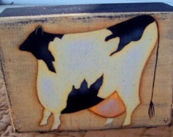 Primitive HP Folk Art Cow Sitter Block