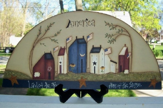 Primitive Americana Saltbox House Wood Door Crown Shelf Sitter Willow Tree Home Decor Flag Sheep Summer Handpainted Country Home Decoration