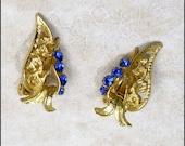 Blue Rhinestone and Goldtone Leaf Vtg Earrings Clip On