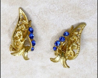 Blue Rhinestone and Goldtone Leaf Vtg Earrings Clip On