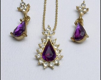 Vintage Purple and Clear Rhinestone Pendant and Pierced Earrings (Petite)