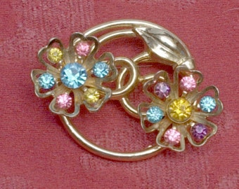 Vintage Coro Multi Color Flower Pin Brooch