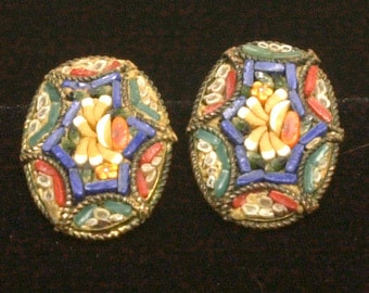 For the Crafter - Can be Altered - Italy Antique Micro Mosaic Earrings