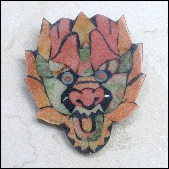 Weird Pin or Brooch -  Strange OOAK Face Mask Halloween Pin Brooch