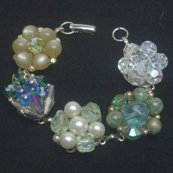 Holiday Jewels - OOAK Repurposed Cluster Bead Bracelet in Beautiful Jeweltone Colors  STUNNING