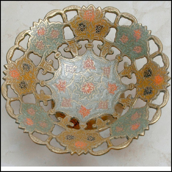 UNIQUE  Enamel on Brass Decorative Bowl from India