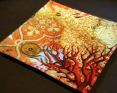 italian map and red coral decoupage glass tray