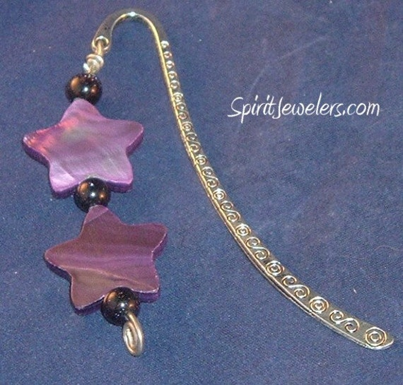 Open My Higher Chakras Bookmark - Mother of Pearl - Blue Goldstone - Reiki Infused