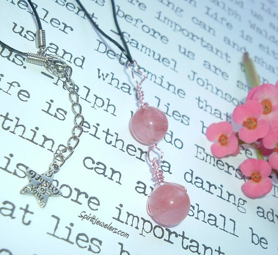 SPHERES OF LOVE - Cherry Quartz Necklace - Reiki Infused - Heart Chakra Balance and Love - 1917