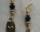 Brass heart earrings black swarovski gold dangle pierced earrings