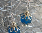 Blue Frosted BeachGlass Beaded Dangle Sterling Silver Pierced Earrings