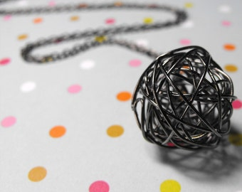 Ball of Yarn Gunmetal Finish handmade Wire Pendant Necklace