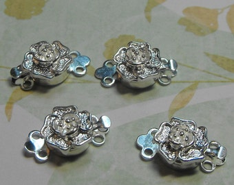 Four Pack Gorgeous Silver Plated Flower Shaped 2 Strand 13mm Dimensional Clasps Jewelry Making Supplies