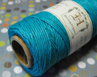 One New 215 foot spool of top quality, imported, 3-ply polished 1 mm thick Bright Blue hemp cord