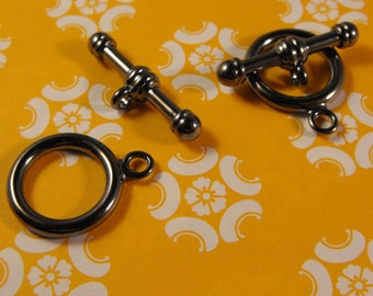 New 2 Pair Pack Gunmetal Finish Brass Toggle and Bar Smooth 16mm Clasps