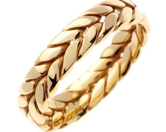 14 kt Gold Braided Hand Crafted 6mm Wide Commitment or Wedding Band Custom made Size 9.5 through 14