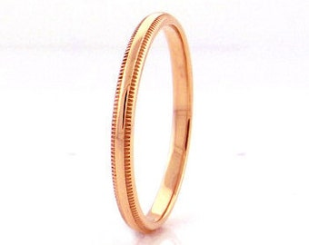 14 kt  Rose Gold Classic Millgrain Edge Style 3mm Wide Commitment or Wedding Band Custom made Size 4 through 14