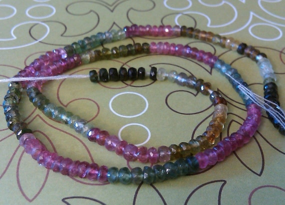Multi Color Tourmaline Faceted 5mm Rondelle Beads-15 inch strand