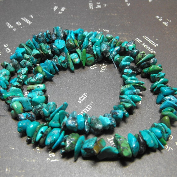 One New natural Turquoise 18 Inch Strand Chip Style Gemstone Beads Great jewelry Making Supplies
