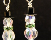 Crystal Winter Snowman Earrings  AB with peridot lime green rondelles
