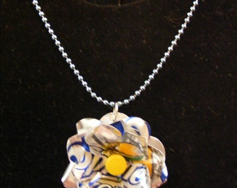 Sprite Soda Can Flower Pendant Necklace silver blue yellow