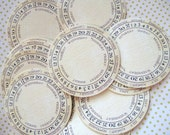 Set of 12 Circle Date Month Vintage Labels..Shabby Chic French..Journal...Note.Cards.Hang Tags.Organization...Birthday..Holiday..Baking