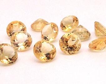 8 mm Round Faceted Citrine Gemstone - 1 piece