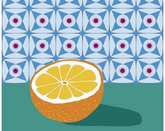 Fruit with Wallpaper (orange) iron-on transfer