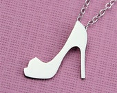 Silver Stiletto Peep Toe Pump Shoe Necklace