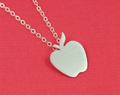 Silver Red Delicious Apple Silhouette Necklace