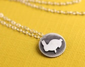 Overstock SALE- WAS: 60.00 NOW 30.00 - Tiny Bunny Token Necklace in Silver