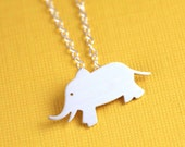 Elephant Silhouette Necklace in Silver