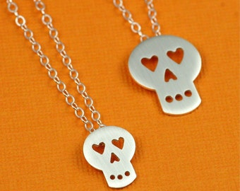 Tiny Heart Eyed Sugar Skull Necklace