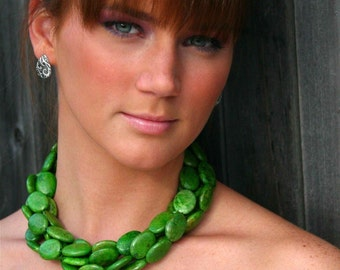 Chunky Kelly Green Chalk Turquoise Necklace