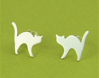 Silver Spooky Arched Back Cat Earrings