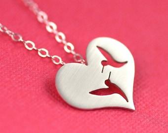 Love Birds Necklace in Silver