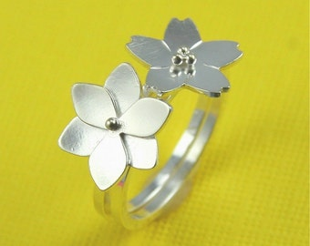 Silver Magnolia Blossom and Forget Me Not Flower Stacking Duo