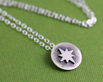 Tiny North Star Token Necklace in Silver