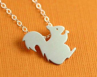 Squeaky Squirrel Silhouette Necklace in Silver