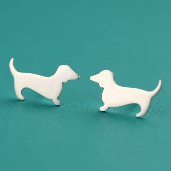 Tiny Dachshund Love Studs in Silver