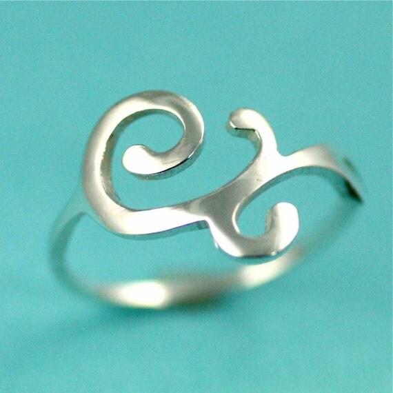 Silver Dainty Scroll Ring